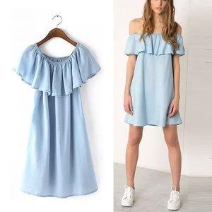 Zara denim off shoulder dress